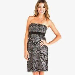 Sue Wong Platinum strapless dress